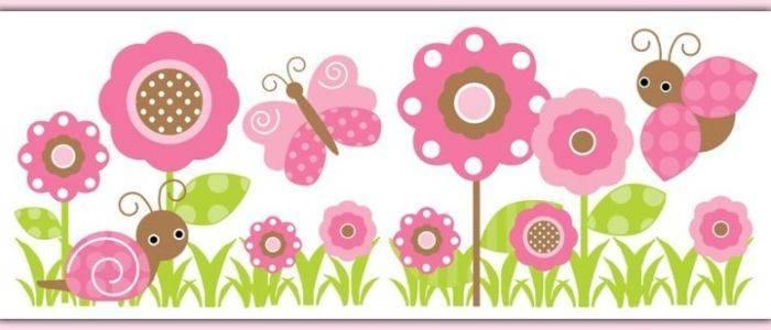 Детский розовый бордюр
