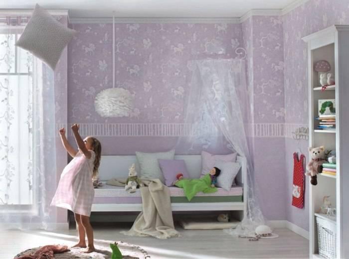 Сиреневый дизайн спальни девочки