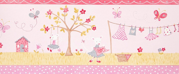 Розовый бордюр с рисунками мышек