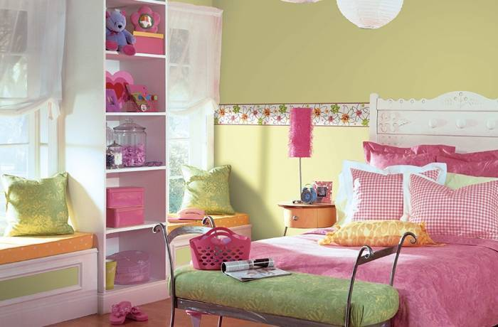 Детская спальня с обоями под покраску