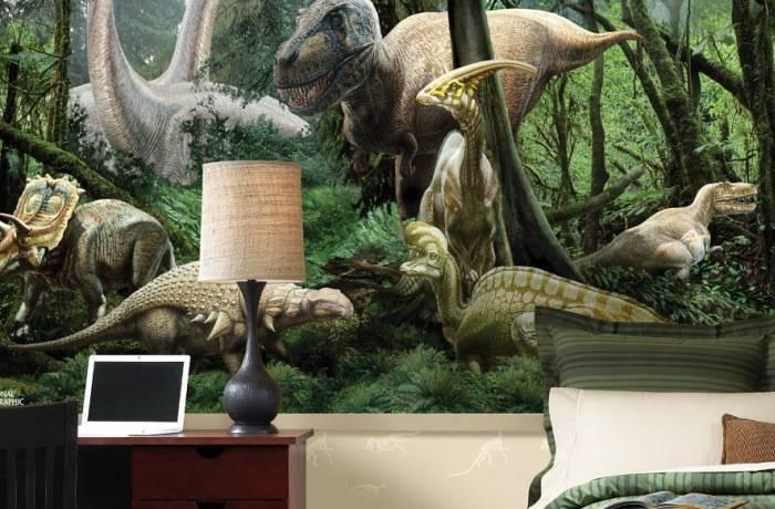 Яркие фотообои с представителями Юрского периода