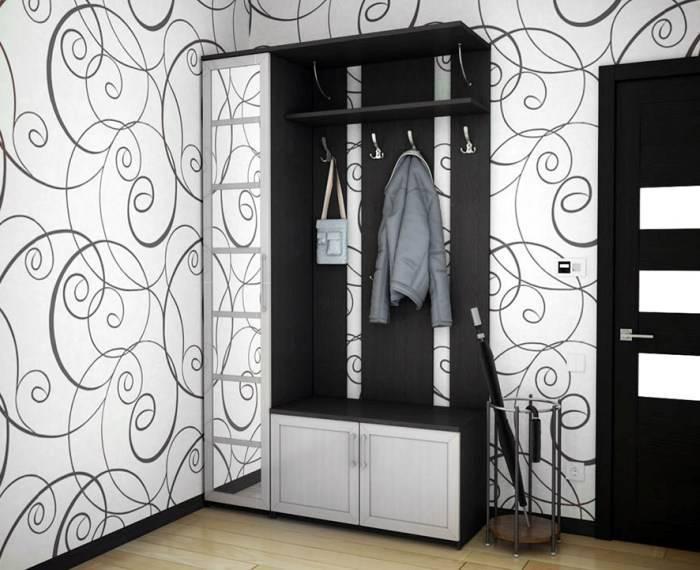Белый и черный цвета в дизайне прихожей