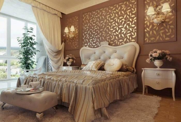 Спальня, отделанная пробковым полотном
