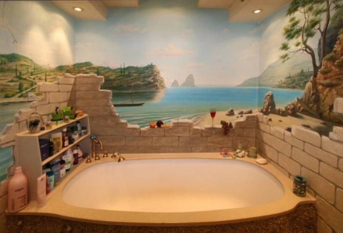 Рисунок профессионального художника в ванной