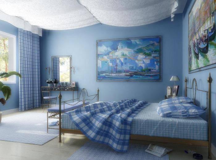 Синие однотонные обои для спальни