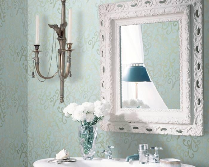Шелкографические обои в ванной, бирюзовый цвет