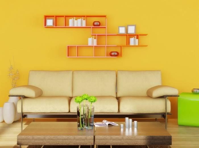 Желтые обои в интерьере гостиной