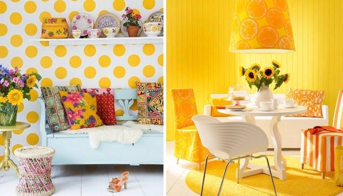 Желтые обои и предметы интерьера