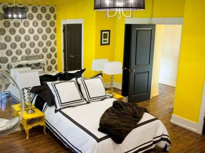 Дизайн спальни, классическая комбинация желтого и черного