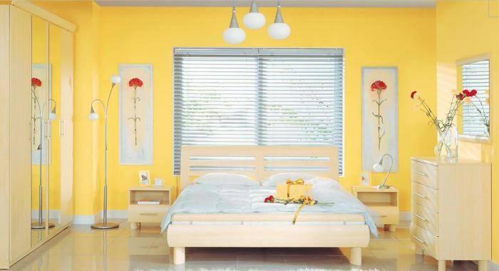 Современная спальня, желтые обои