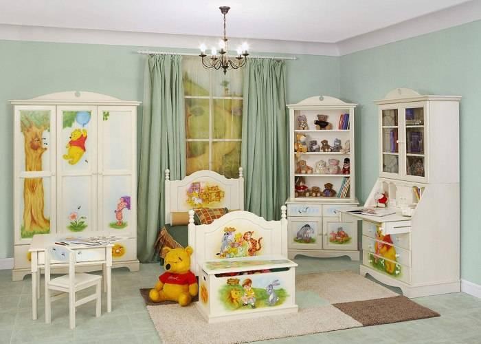 Интерьер детской, обои под покраску