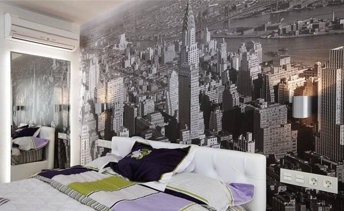 Фотообои со стилистикой города в спальне
