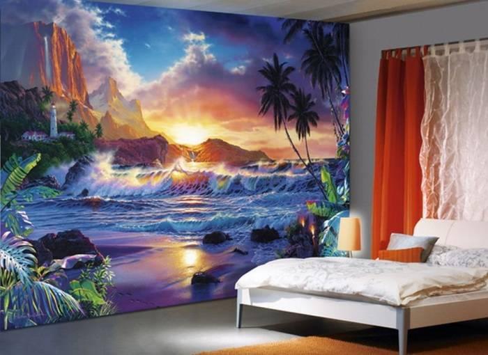 Спальня и цветные фотообои