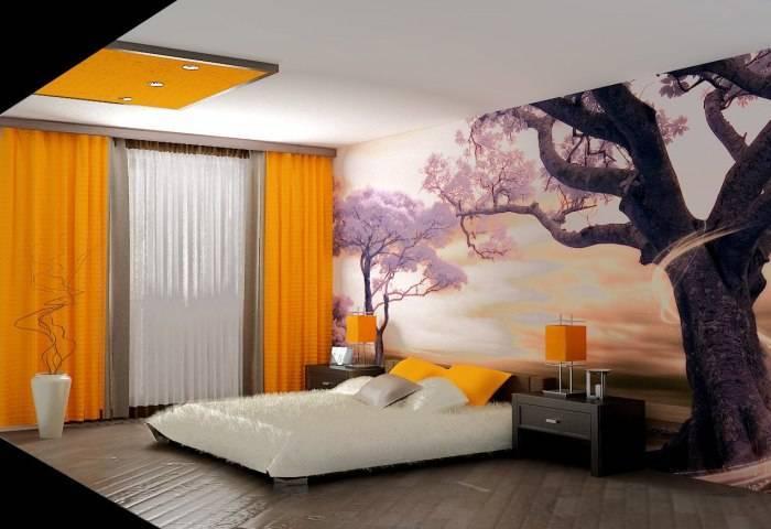 Большая спальня и фотообои