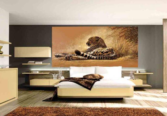 Спальня в коричневых тонах, фотообои