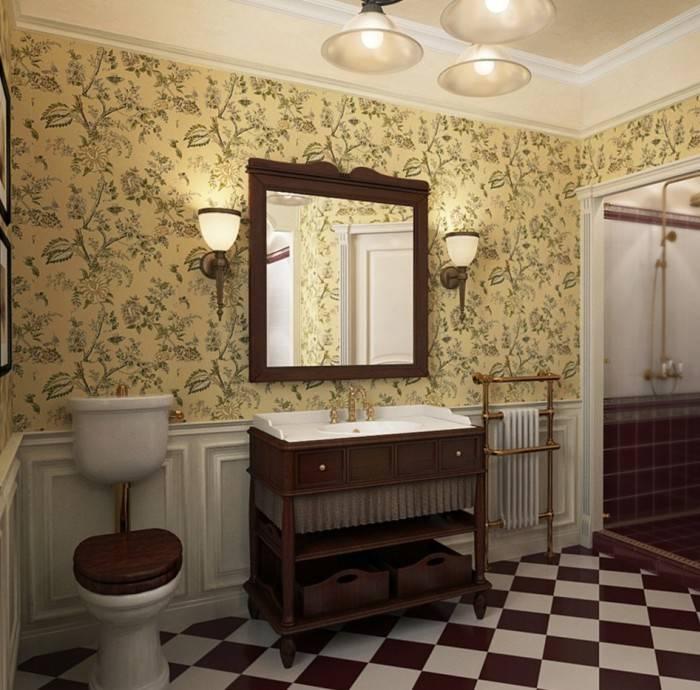 Английский стиль для туалета