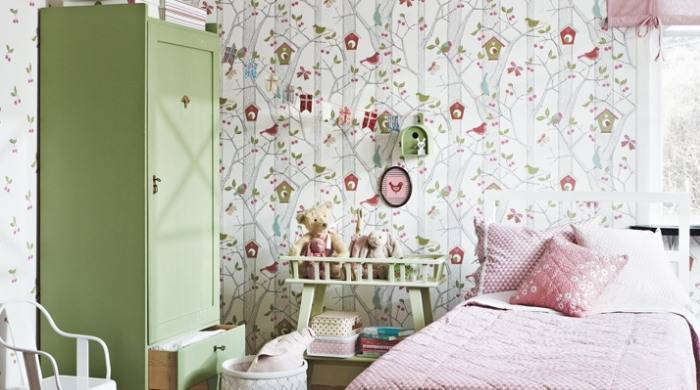 Шведский дизайн обоев для детской