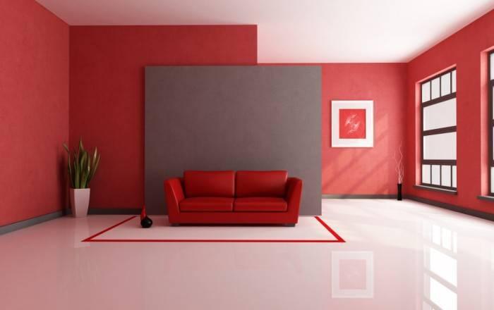 Однотонный интерьер в красных цветах