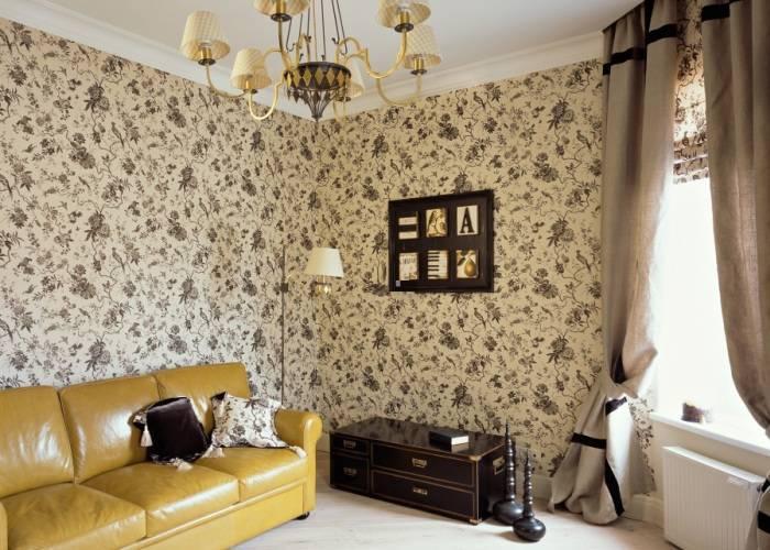 Интерьер гостиной комнаты в светлых тонах