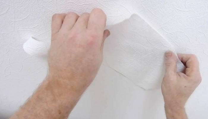 Монтаж заплатки на обойное полотно