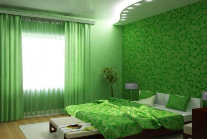 Спальня в насыщенных зеленых тонах
