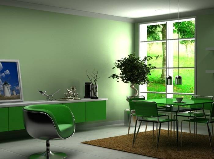 Обои под покраску, выкрашенные в светло-зеленый цвет