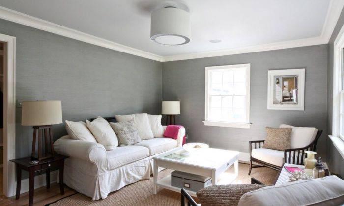 Серый интерьер большой комнаты