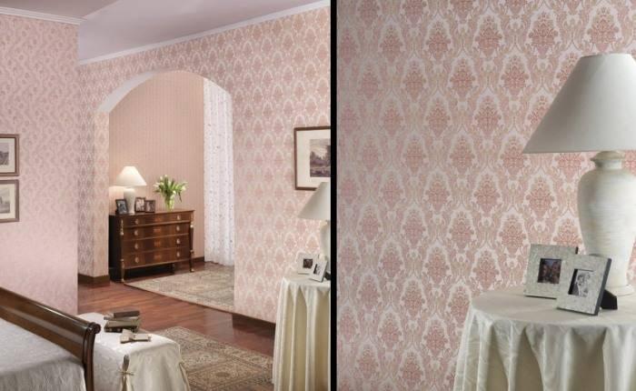 Итальянские обои пастельных тонов в спальне
