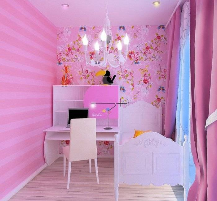 Небольшая спальня девочки, полосы на обоях удлиняют пространство