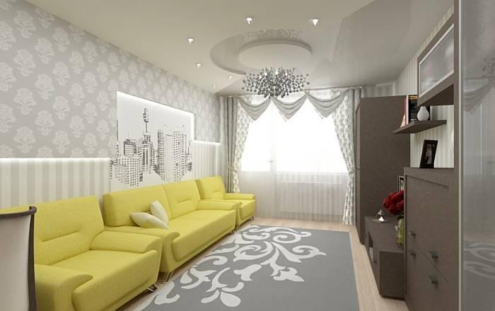 Стандартная гостиная выполненная в сером цвете