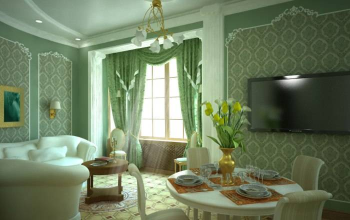 Роскошный интерьер зала в зеленых тонах