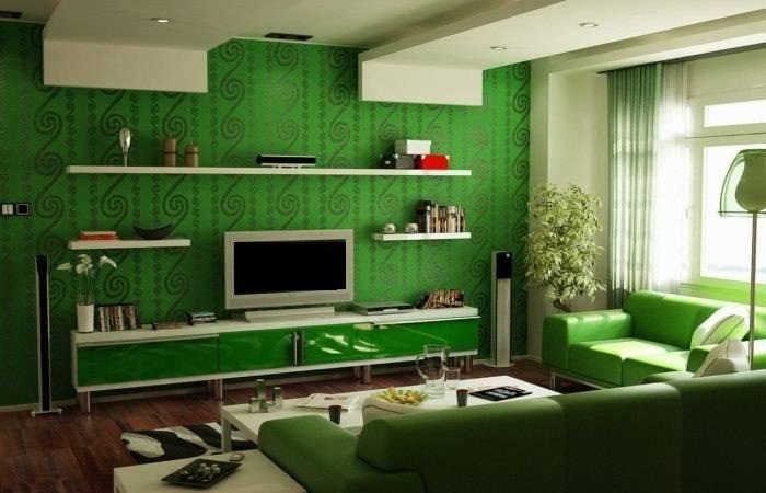 Обои зеленого цвета с завитками в зале