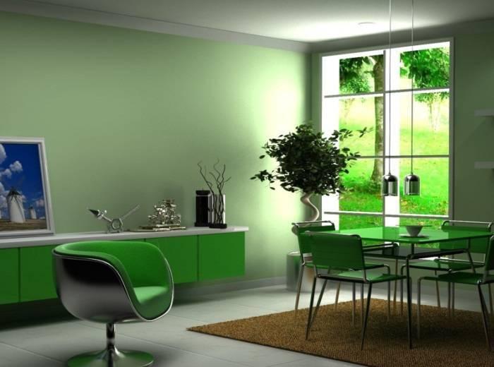 Простой зеленый интерьер гостиной