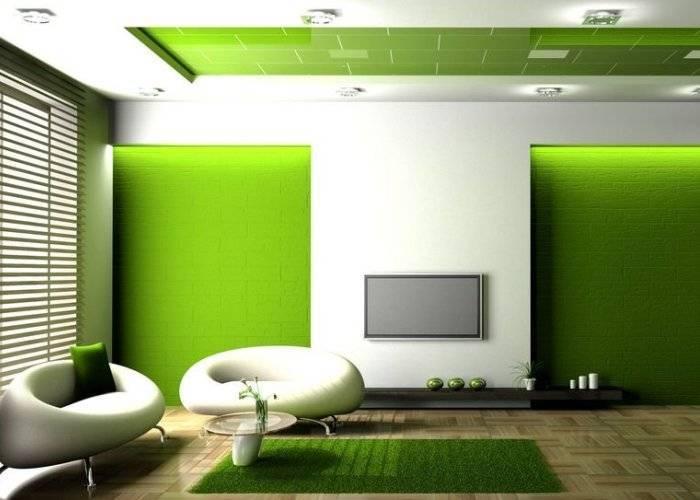 Резкий переход цвета в интерьере от зеленого к белому