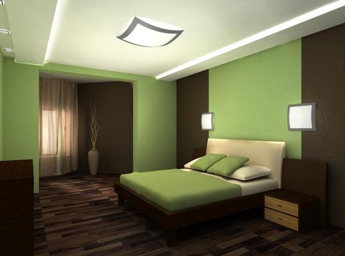 Гармоничная спальня: коричневый, зеленый