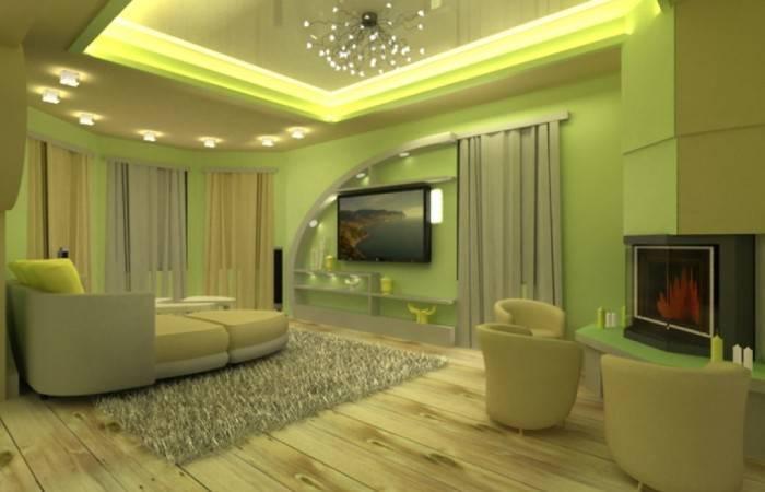 Пастельный интерьер гостиной