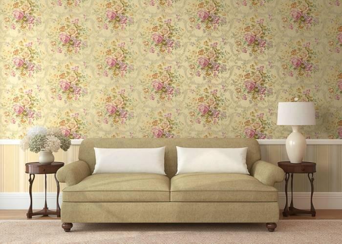 Цветочный интерьер в гостиной