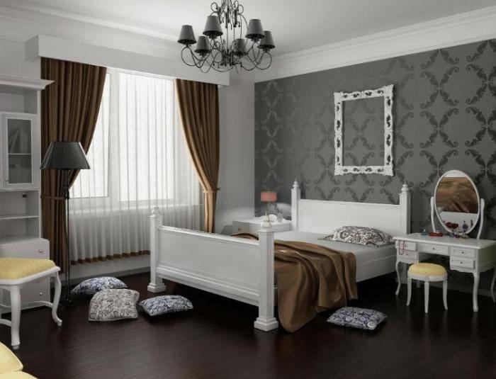 Обои серого цвета в интерьере спальни