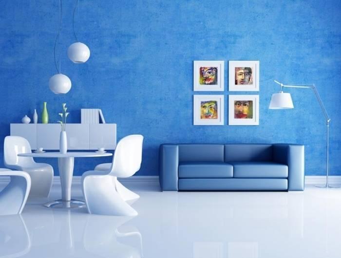 Синий и белый в интерьере комнаты