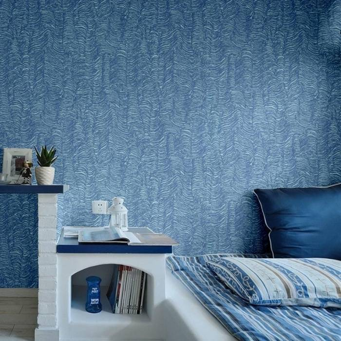 Синие обои для спальни, один из вариантов