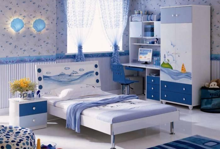 Спальня ребенка в голубых тонах