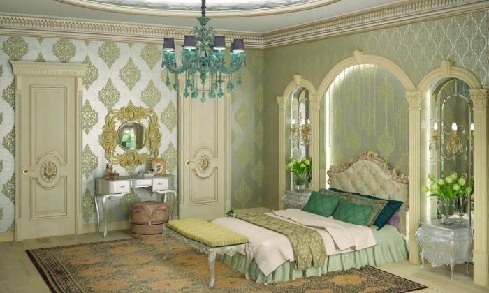 Оттенки зеленого и серебрянного в спальне