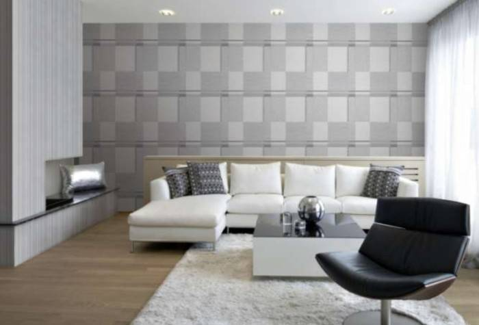 Серый интерьер гостиной, обои с геометрическим рисунком
