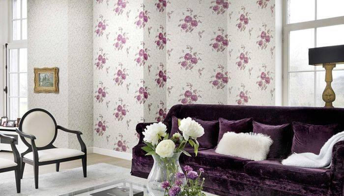 Цветочная тематика обоев в гостиной