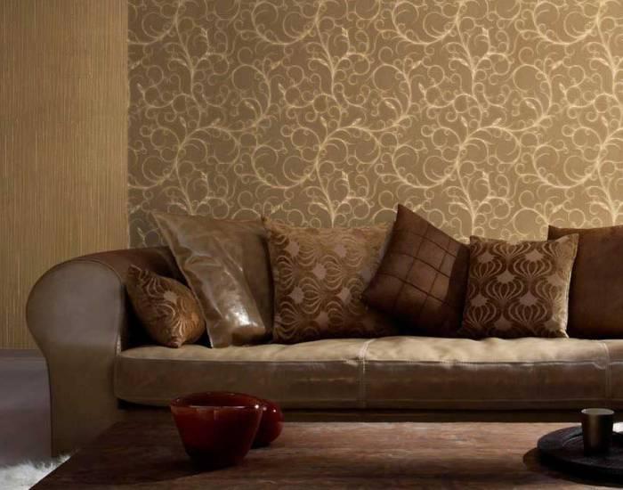 Темный интерьер гостиной комнаты