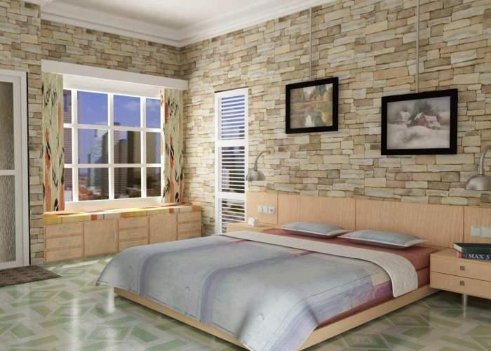 Применение современных обоев в спальне