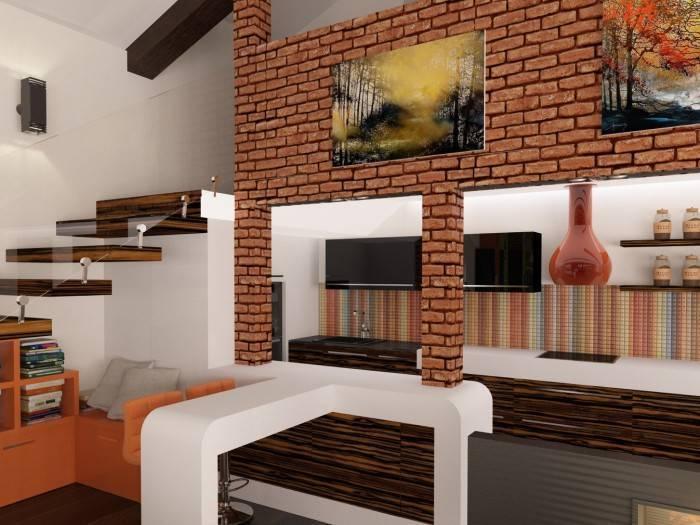 Использование разных отделочных материалов в комнате