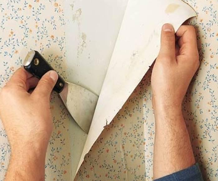 Применение шпателя для снятия со стен обойного полотна