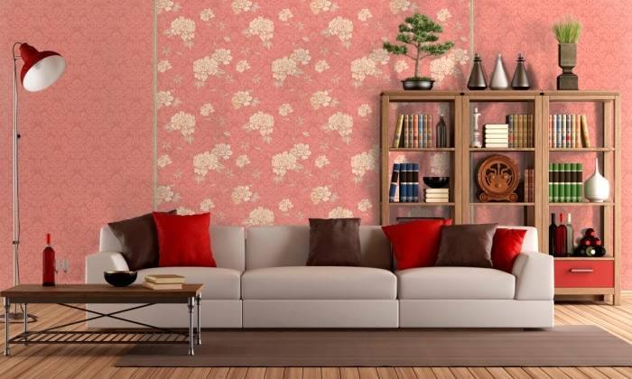 Использование красного цвета в гостиной