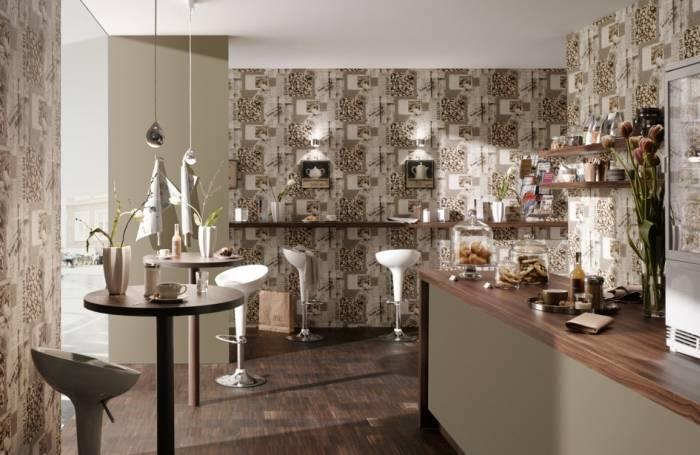 Типичные кухонные обои в интерьере